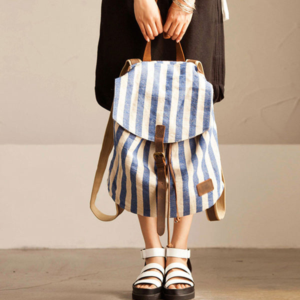 Women Stripe Splicing Blue Backpack