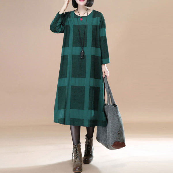 Literature Round Neck Long Sleeves Green Lattice Women Dress