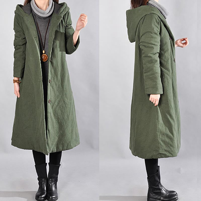 Green Women Loose Hooded Winter Coat
