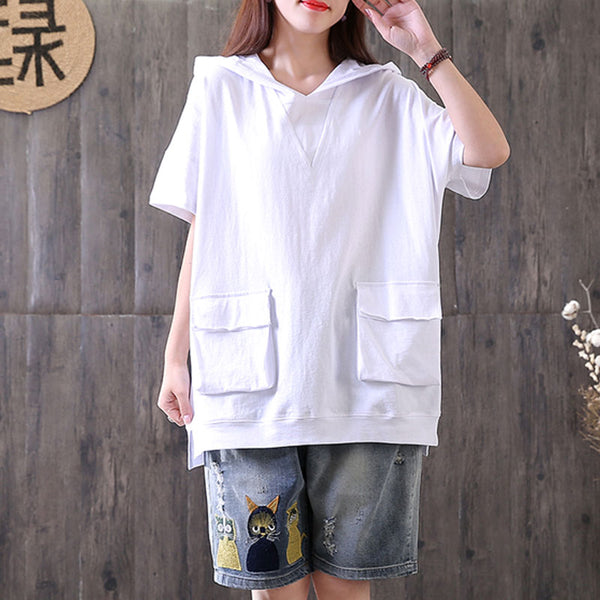 Casual Hooded Short Sleeve Pullover Cotton White Tops