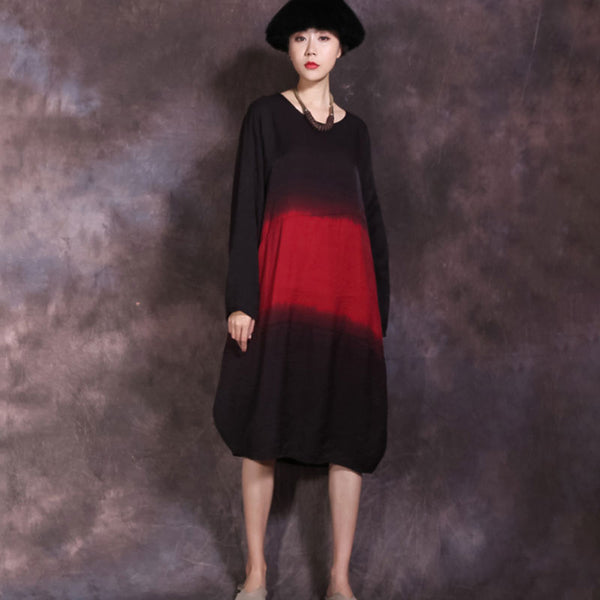 Ethnic Round Neck Long Sleeve Black And Red Lantern Dress - Buykud