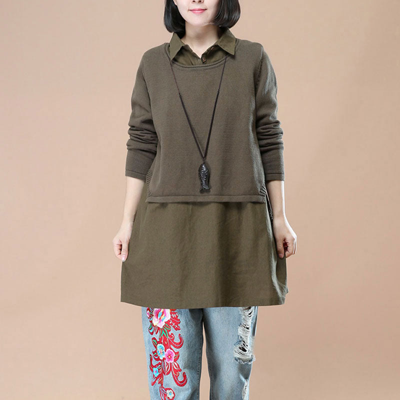 Polo Collar Literature Long Sleeve Patchwork Fake Two-Piece Sweater - Buykud