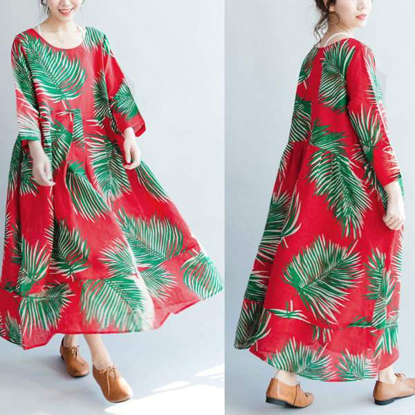 Loose Round Neck Three Quarter Sleeve Leaf Printing Women Dress