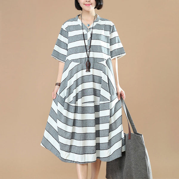 Women Casual Stripe Splicing Button Cotton Gray White Dress - Buykud