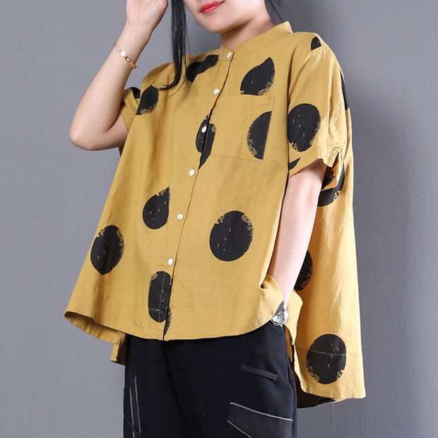 Stand Collar Short Sleeve Loose Cotton Yellow Shirt