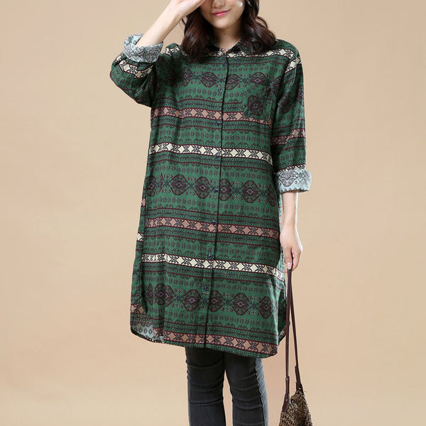 Ethnic Style Casual Long Sleeves Spring Shirt dress