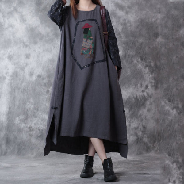 Retro Autumn Stitching Loose Linen Dress