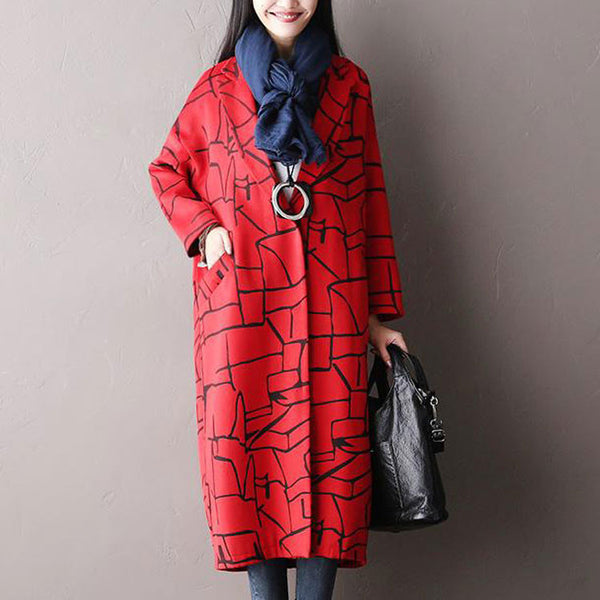 Red Long Sleeved Wool Jacket
