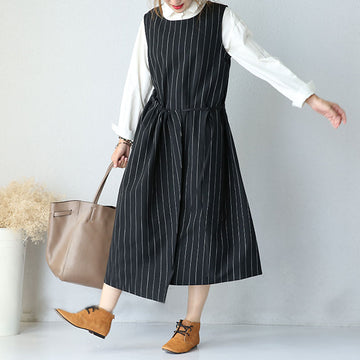 Round Neck Sleeveless Women Stripe Lacing Dress - Buykud