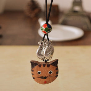 Wooden Hand Painted Cat Alloy Fishes Pendant Necklace