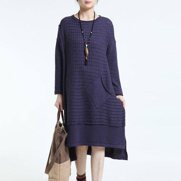 Causal Long  Loose Round Neck Knitted Sweater Dress Navy Blue - Buykud