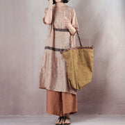 Casual Loose Short Sleeve Round Neck Beige Dress