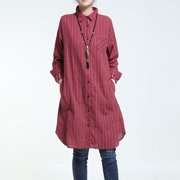 Spring Retro Stripe Line And Cotton Red Long Shirt