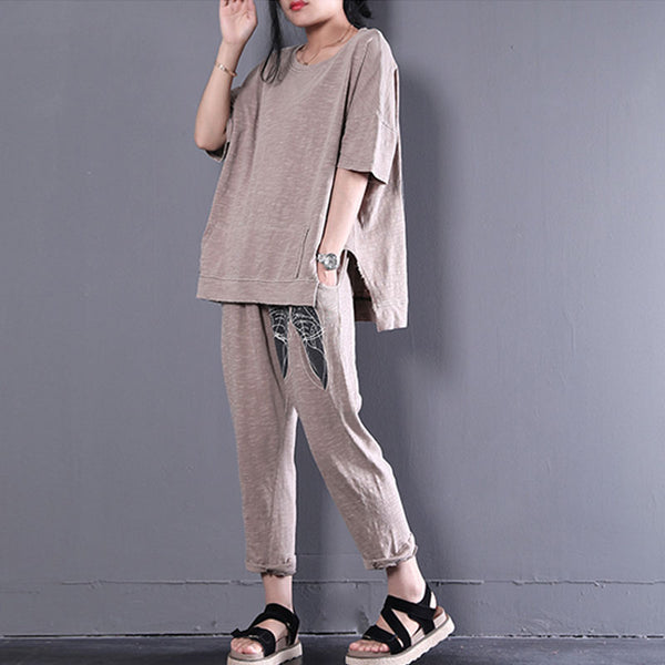 Women Summer Loose Shoes Printed Casual Sports Suit