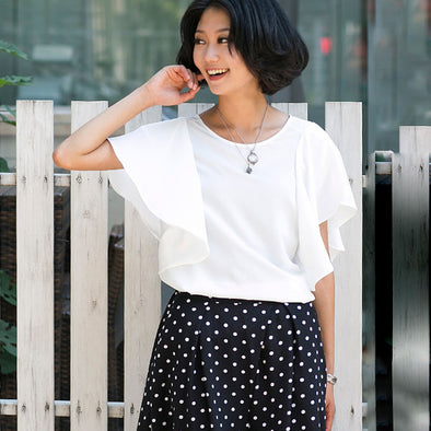 Sweety Round Neck Zipper Lotus Leaf Sleeves Women White Shirt - Buykud