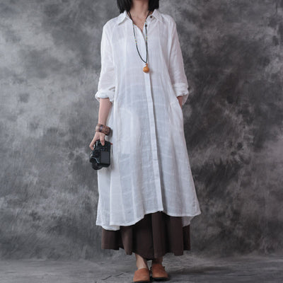 Women Long Sleeve Linen Shirt Dress White - Buykud