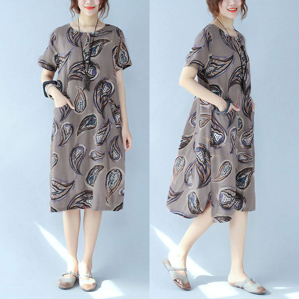 Printing Women Loose Ethnic Button Splicing Pocket Cotton Coffee Dress - Buykud