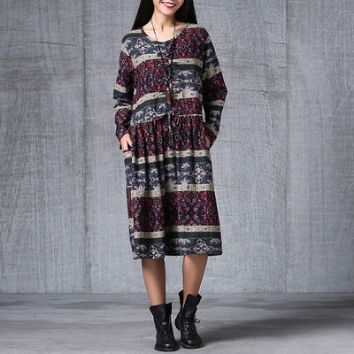 Women Printed Long Sleeve Pullover Dress - Buykud