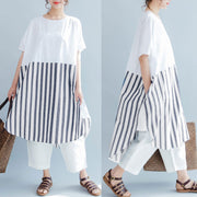 Baggy Cotton Stripe Short Sleeves Women Gray And White Dress - Buykud