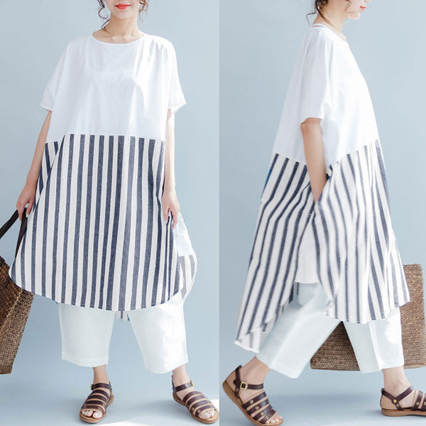 Baggy Cotton Stripe Short Sleeves Women Gray And White Dress