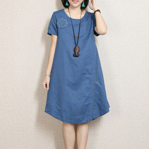 Women Embroidered Lace Blue Dress - Buykud