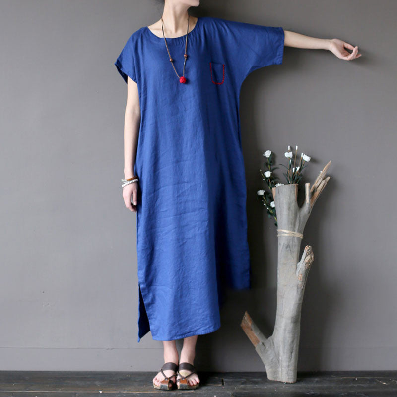Embroidered Women Loose Splitting Retro Linen Summer Dark Blue Dress - Buykud