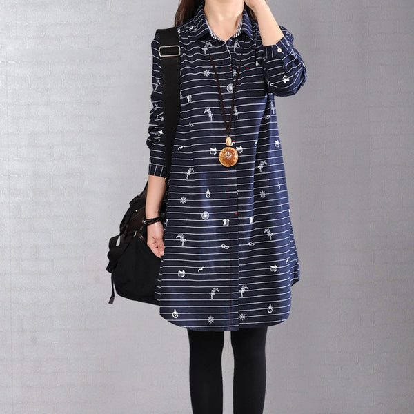 Stripe Women Straight Loose Cotton Casual Pocket Blue Shirt Dress - Buykud