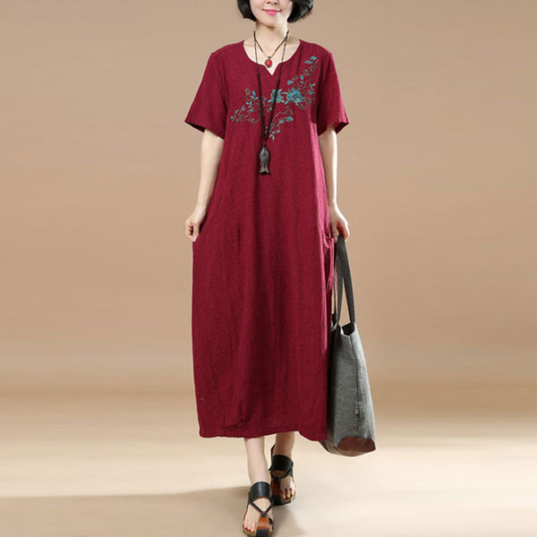 Summer Casual Jacquard Short Sleeves Red Dress