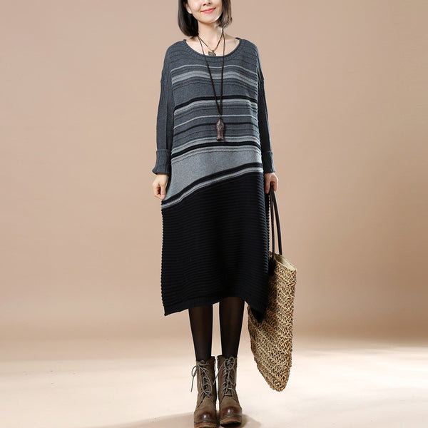 Striped Stitching Autumn Long Sleeve Sweater