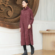 Autumn Winter Women Turtle Neck Bat Sleeve Loose Dress - Buykud