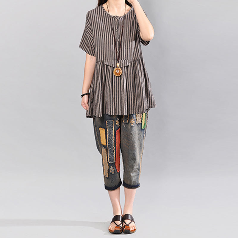 Casual Stripe Short Sleeves Women Gray Shirt - Buykud