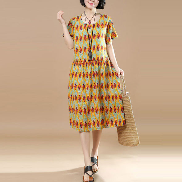 Summer Floral Short Sleeves Women Yellow Dress - Buykud