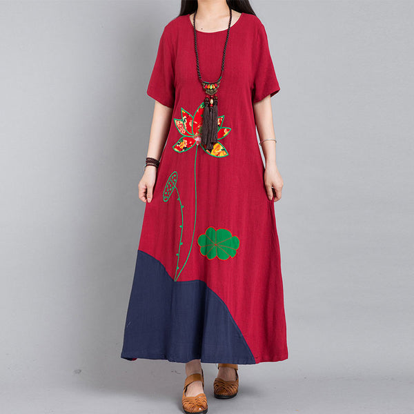 Embroidered Short Sleeve Round Neck Red Dress