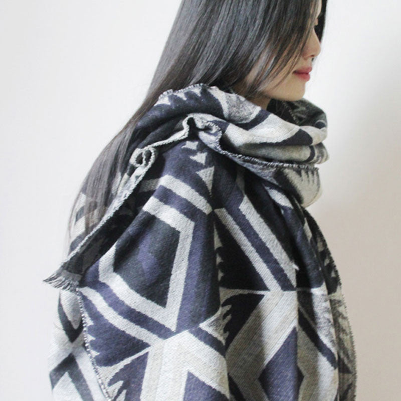 Winter Ethnic Style Gray And White Knitting Scarf - Buykud
