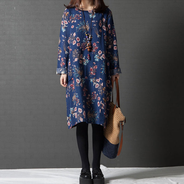 Women Loose Round Neck Floral Blue Dress