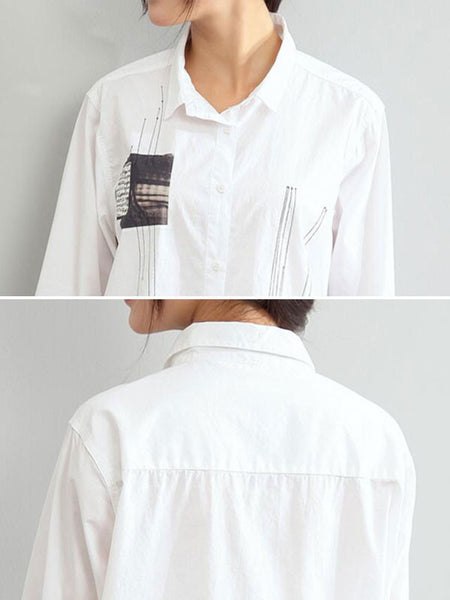 PoLo Collar Cotton Loose  White Shirts - Buykud