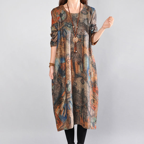Women Casual Loose Cotton Autumn Dress - Buykud
