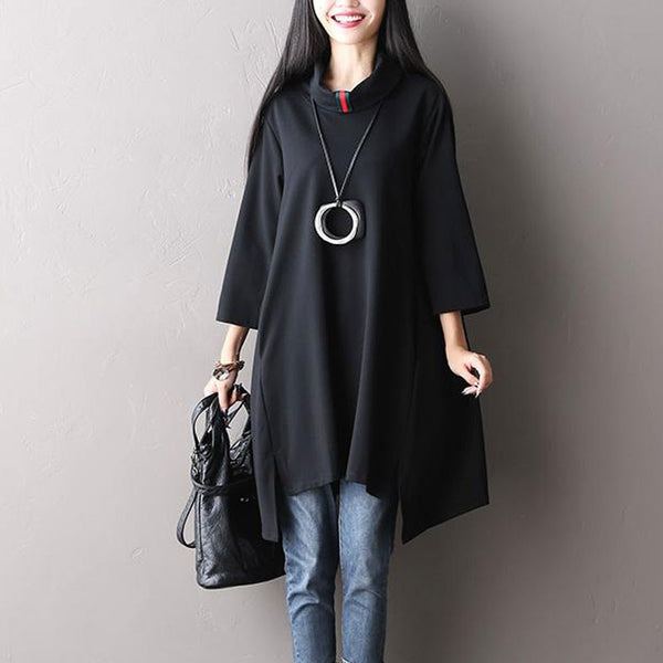Stretch Cotton Loose Black Shirt Dress