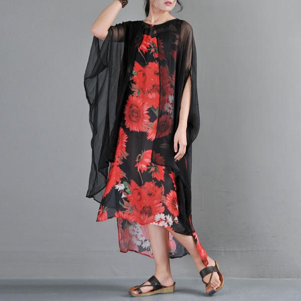 Summer Fake Two Pieces Yellow Flower Printed Bat Sleeve Dress