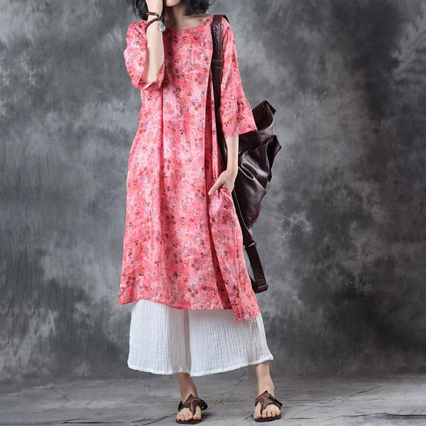 Women Round Neck 1/2 Sleeve Loose Dress