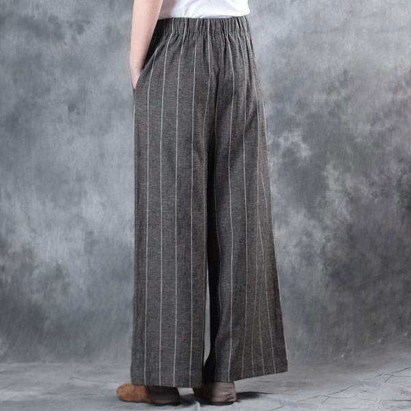 Literature Cotton Linen Ankle Length Women Gray Stripe Wide Leg Pants - Buykud