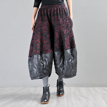 Buykud Casual Spliced Jacquard Loose Wide Leg Pants