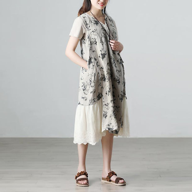 Casual Summer Short Sleeve Floral Beige Long Dresses