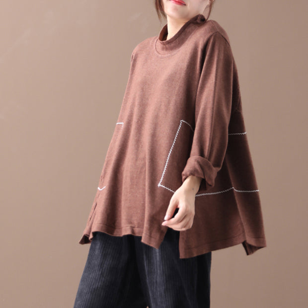 Buykud Decorative Line Casual Comfort Loose Sweater
