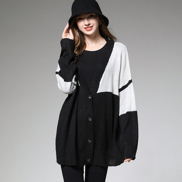 Buykud Contrast Color Fashion V-Neck Loose Knitted Coat