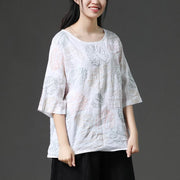 Casual Leaves Short Sleeve Cotton White Shirt