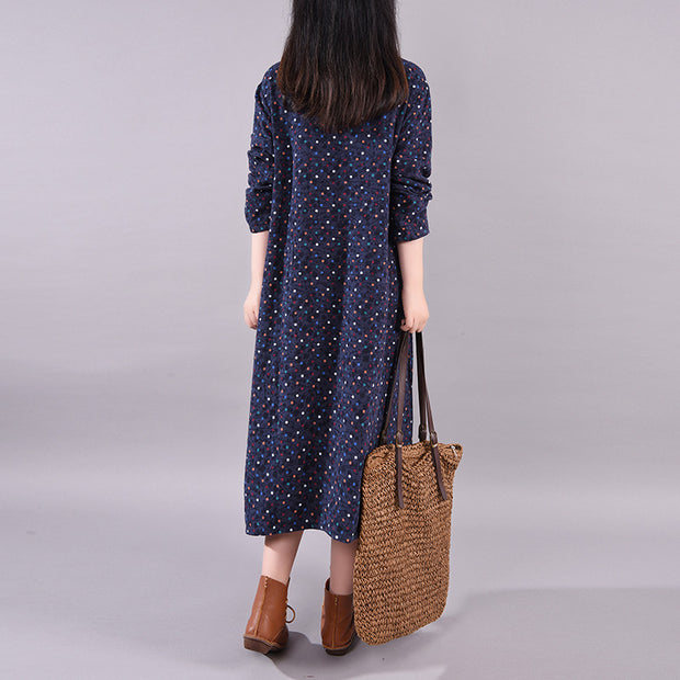 Buykud Elegant Colored Dots Casual O-neck Dress