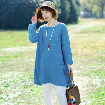 Cotton Vintage Loose Long Sleeve Plus Size T-shirt