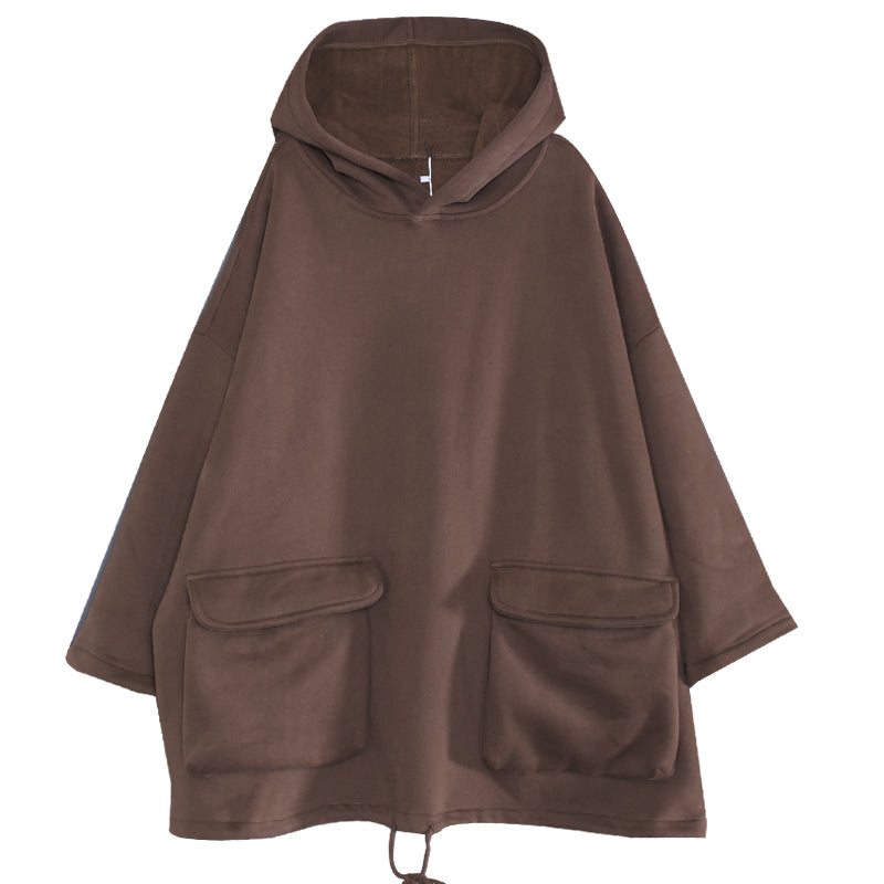 Buykud Casual Solid Color Flocking Handmade Hoodie