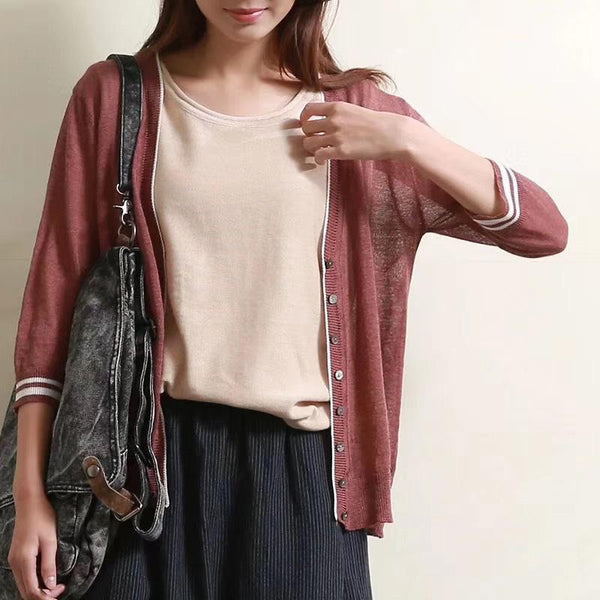 Casual Button Thin Basic Knit Cardigan